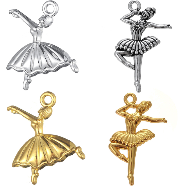 Skyrim Elegant Artist Ballet Dancer Charms Dance Girl Sliver Gold