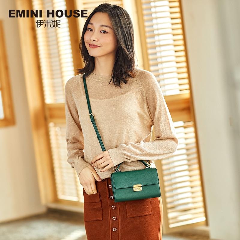 EMINI HOUSE Padlock Crossbody Bags For Women Messenger Bags Split Leather Luxury Handbags Women Bags Designer