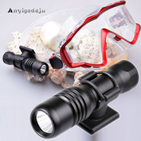 ANYIGEDEJU DIV18 Scuba Dive Mask Torch Mini Diving Flashlight Underwater 200M XM L2 LED Diving Headlight with Mount Use AA/14500