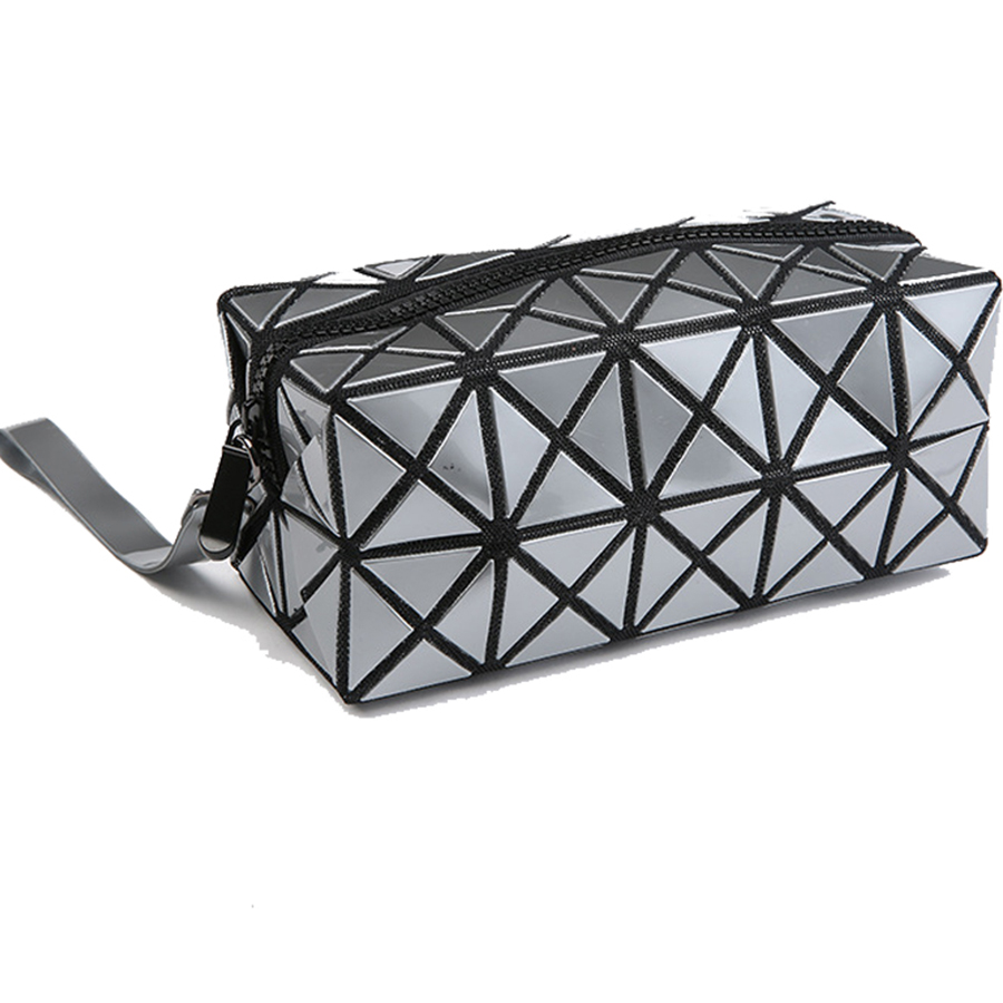 Ladies Organizador Bolso Geometric Stitching Clutch PU Handbags Wash Cute Makeup Bag Necessarie Trousse De Maquillage Sac