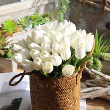 1pc Cheap Artificial Tulips Mini Faux Flower White Wedding Bouquet Real Touch Fake Latex Tulips With Leaves Home Decorative 35cm