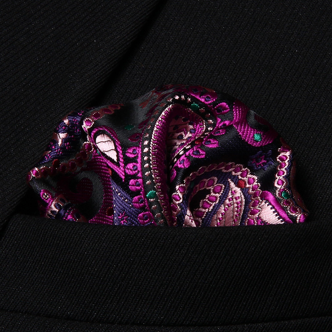 HP706J Pink Green Paisley Men 100% Silk Party Handkerchief Pocket Square Hanky