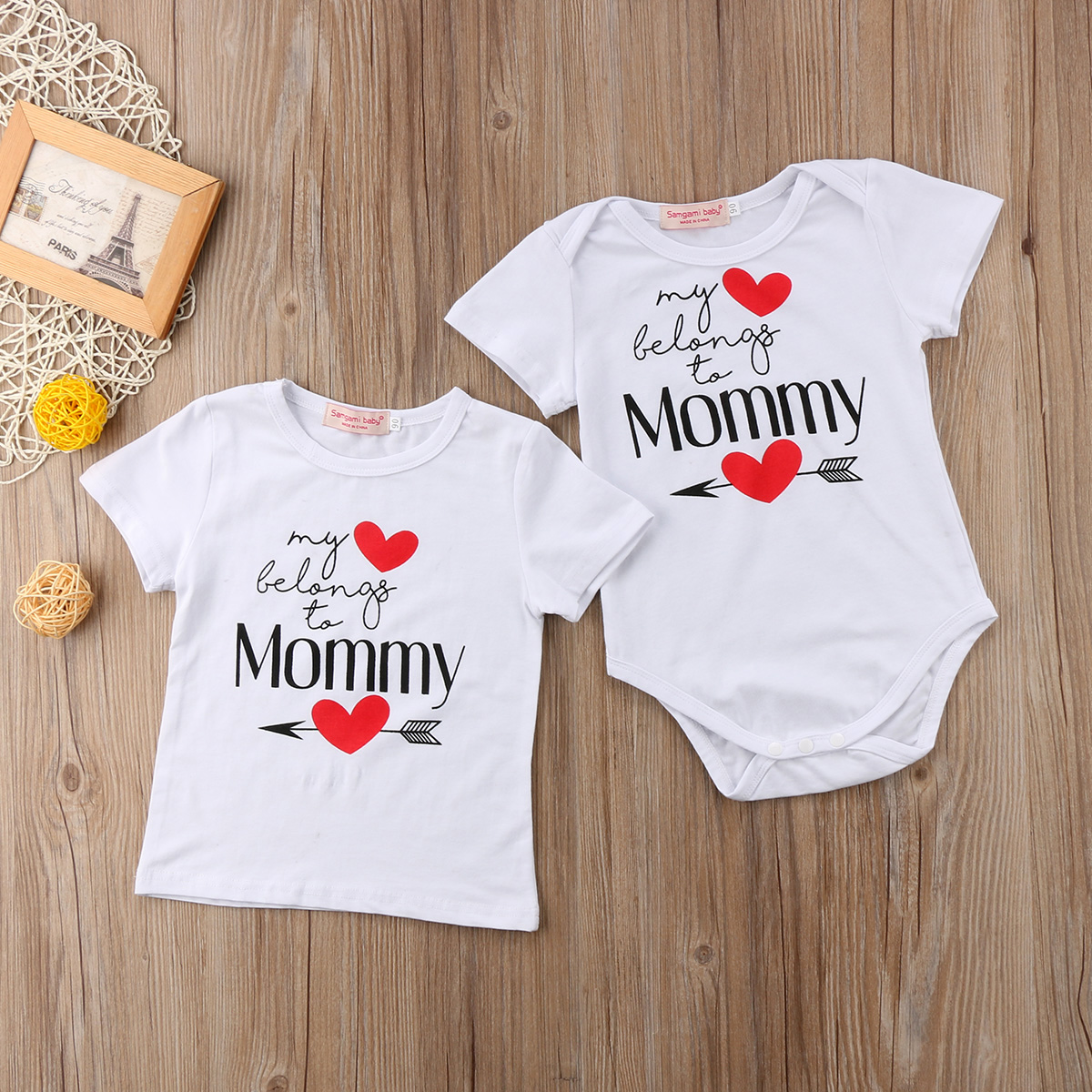 e64f062a 2018 My Heart Belongs to Mommy Printed Kids Baby Boy Girl T-shirt Family  Matching Bodysuit Clothes Tops White Summer Casual