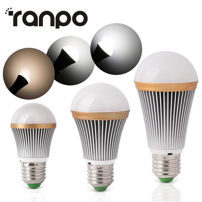 Dimmable Aluminium LED Globe Bulb E26 E27 9W 15W 21W 110V 220V Led Spot Lights Chandelier Candle Lighting High Quality Cool/Warm