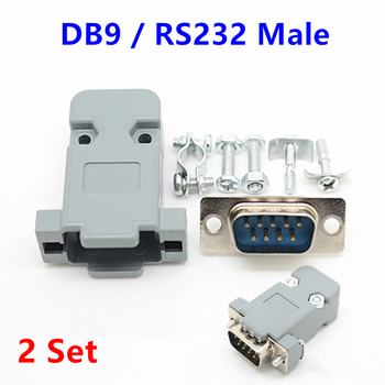 2Set RS232 serial port connector DB9 Male socket Plug connector 9 Pin copper RS232 COM adapter with Plastic Case DIY HY225