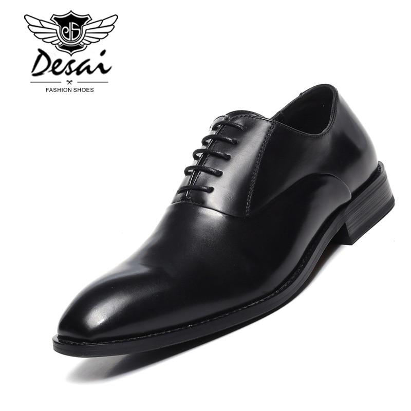 Men Business Dress Shoes Luxury Brand Designer Black Pointed Toe Genuine Leather Formal Oxfords Shoes Wedding