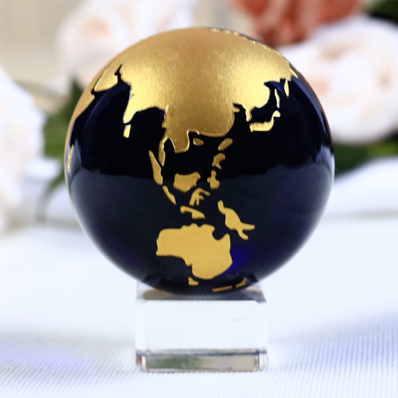 60mm Blue Colored Earth Crystal Model Ball Glass Globe With a Base - Home Decor - Photo 4