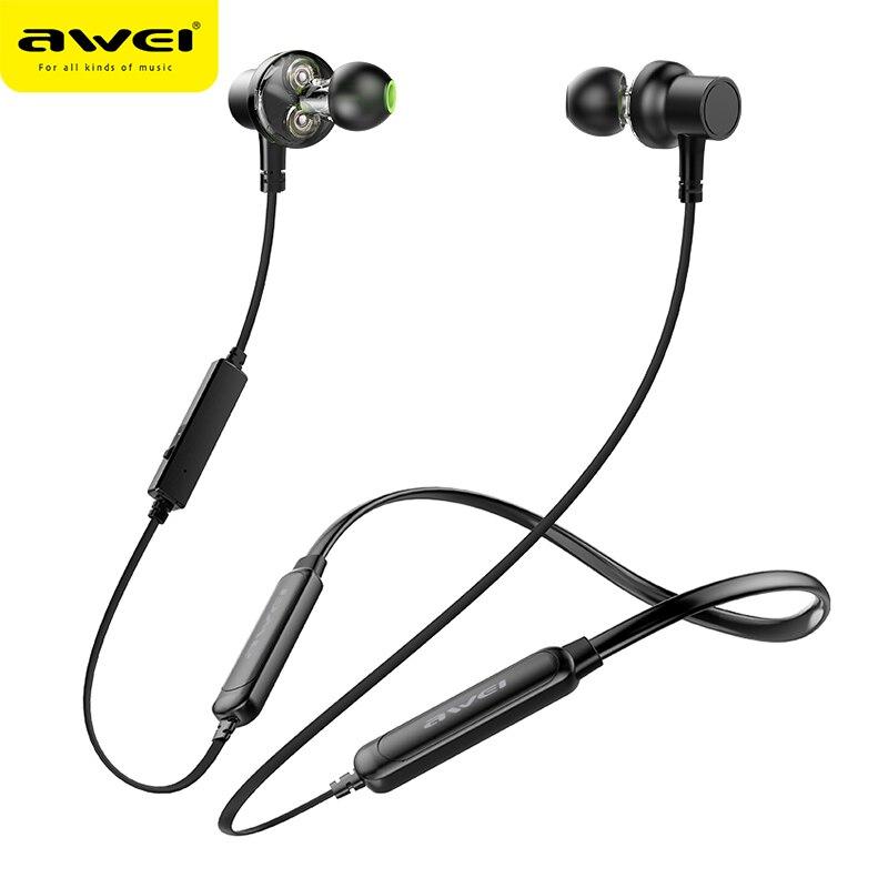 AWEI G20BLS cuello auricular inalámbrico Bluetooth auricular del deporte Dual de la batería con micrófono auricular Auriculares para teléfono