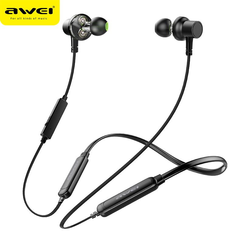 AWEI G20BLS Neckband Wireless Earphone Sport Bluetooth Headphone Dual Battery with mic Headset Earpiece Auriculares for Phone 2017 new neckband stereo bluetooth headset wireless mobile music v4 1 sport earphone phone headphone handsfree hd mic earpiece