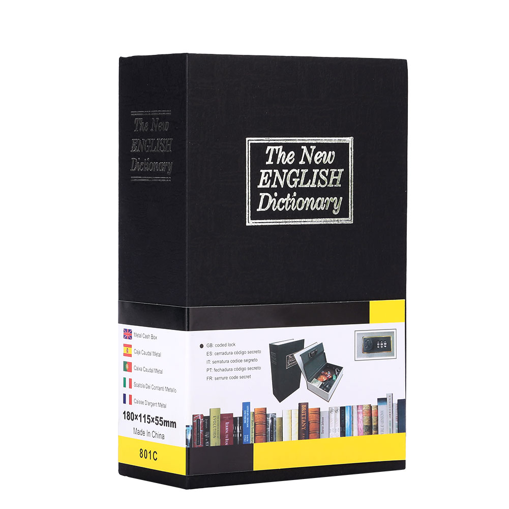 4 цвета, сейф для словаря, ящик для хранения, сейф для книг, безопасный тайник бумага для органайзера, креативный - Цвет: black