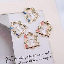MRHUANG 10 unids/pack gato en el dinero encaje con estrella de esmalte encantos conector collar brazalete accesorio de la joyería de moda DIY
