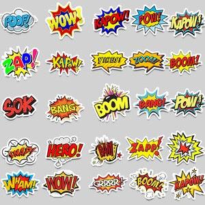 Image 3 - 50 pièces Mots autocollants oups bang boom wow pow Graffiti Autocollants pour Ordinateur Portable Skateboard Réfrigérateur de Guitare Étanche Autocollants