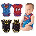 Novo 2016 bebê recém-nascido da menina do menino roupas de Verão Bonito dos desenhos animados do homem aranha Superman bebê recém-nascido menino romper infantil bebê ropa bebe 3 M