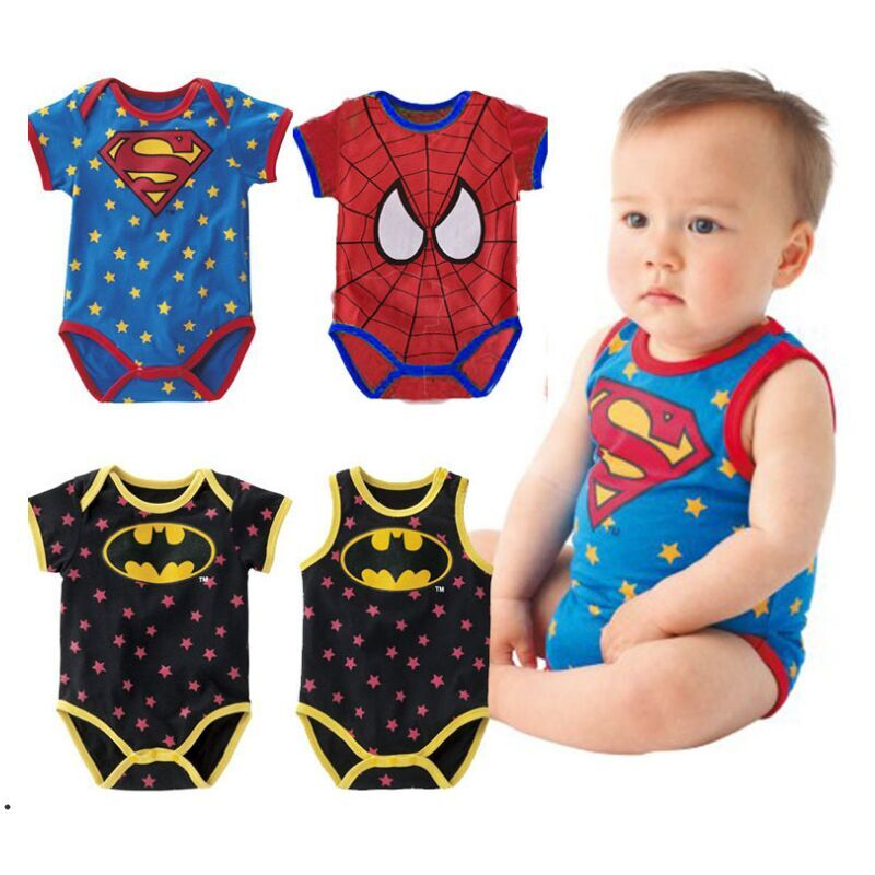 26b018d697be3 US $6.98 |new 2016 Summer newborn baby boy girl clothes Cute cartoon  spiderman Superman new born baby boy romper infant baby ropa bebe 3M-in  Rompers ...