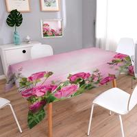Square Washable Tablecloth Spring Season Time Roses with Leaves and Buds with Pink Ombre Atmosphere Image Waterproof Tablecloths
