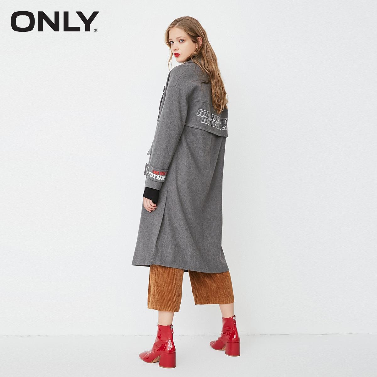 فقط الخريف معطف المرأة فضفاض مستقيم صالح المطرزة طويل السيدات معاطف  118136525-في معطف مبطن من ملابس نسائية على  مجموعة 3
