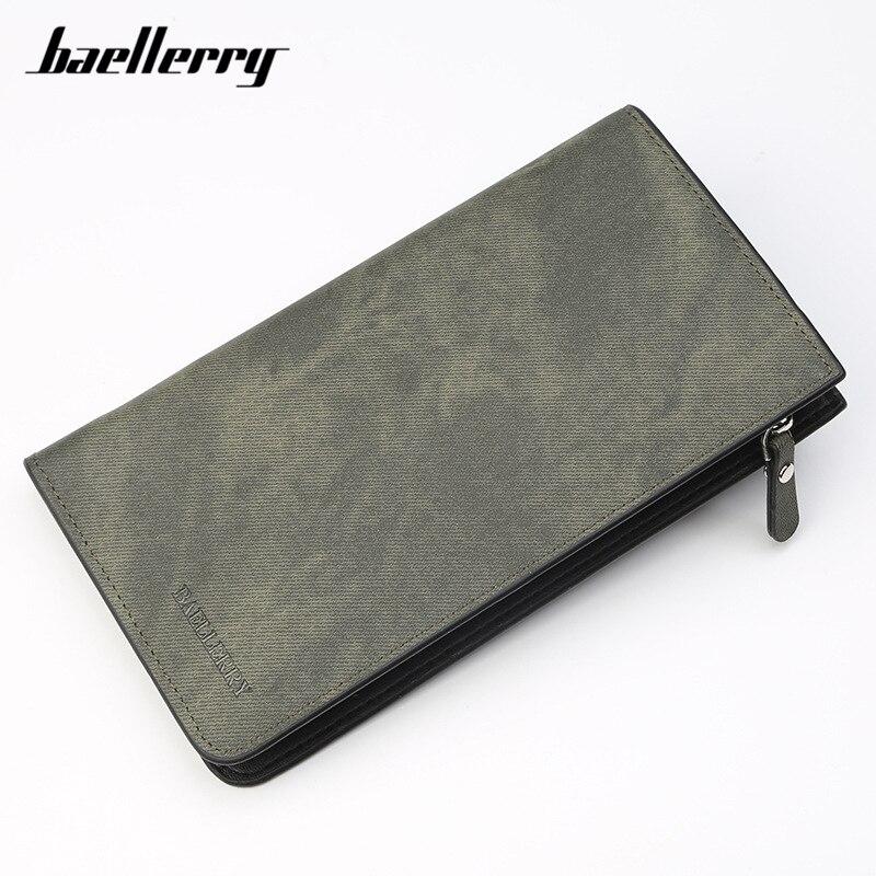Baellerry Brand Long Men Wallet Zipper Soft Synthetic Leather Card Holder Male Clutch Wallet Brown Man Purse