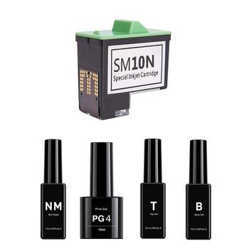 Hottest V11 Nail Printer Machine Pre-Print Oil B, TS, PG4, NM, And SM 10 Special Inkjet Cartridge Nail Gel Set Free shipping