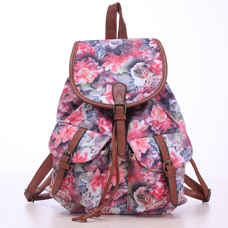 2017 Vintage Backpacks Elephant Butterfly Print Drawstring Canvas Backpack Floral Mochila Girls School Bags Travel Bags Rucksack scione ethnic canvas backpack printing elephant butterfly drawstring casual rucksack travel shoulder bag mochila feminina xa739a