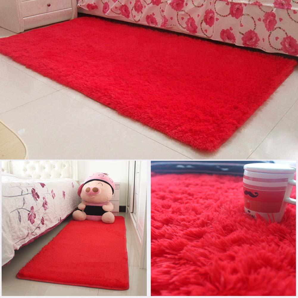 Hot Fluffy Rugs Anti Skiding Shaggy Area Rug Dining Room Carpet Floor Mat Red
