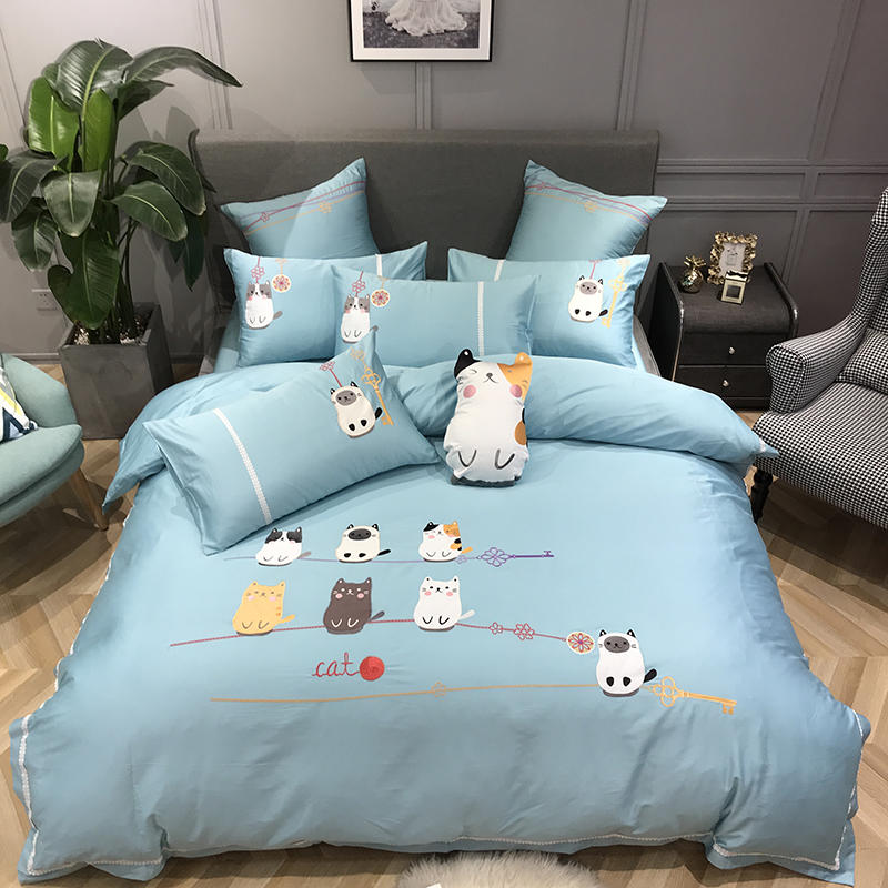 Egyptian Cotton Cute Cats Blue Bedding Set Queen King size Bed set Fitted sheet Duvet cover
