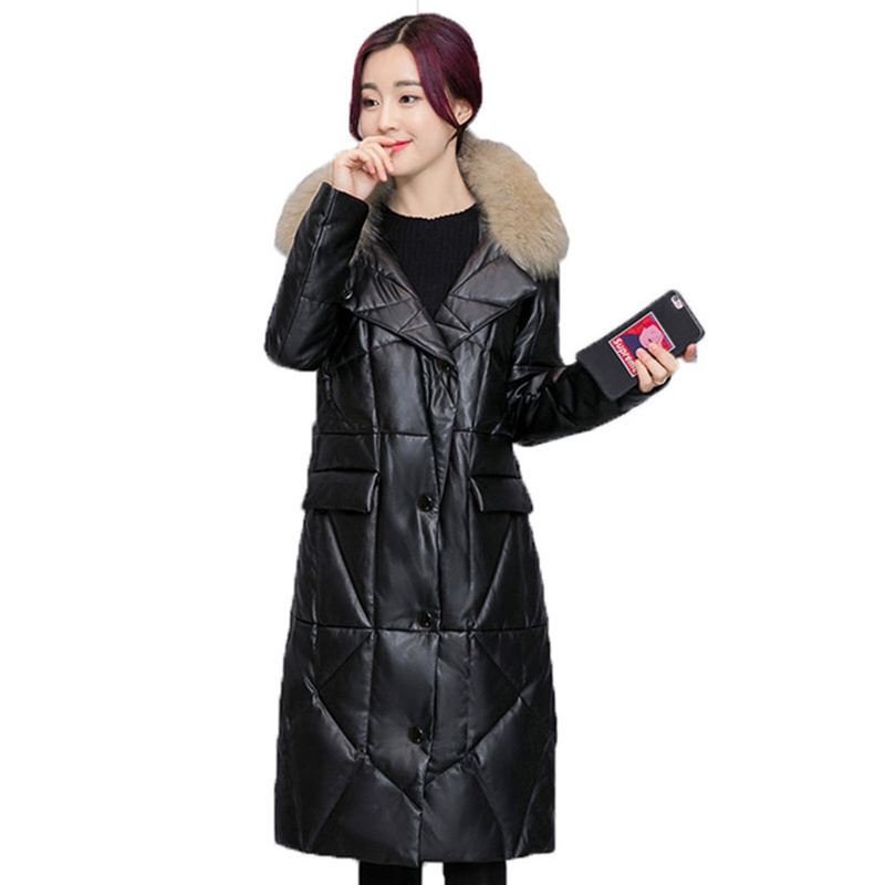 2018 Faux Leather Womens Down Jacket Hooded Fur Collar Winter Jacket Women Long Parka Overcoat Leather Bomber Jacket Coat Women