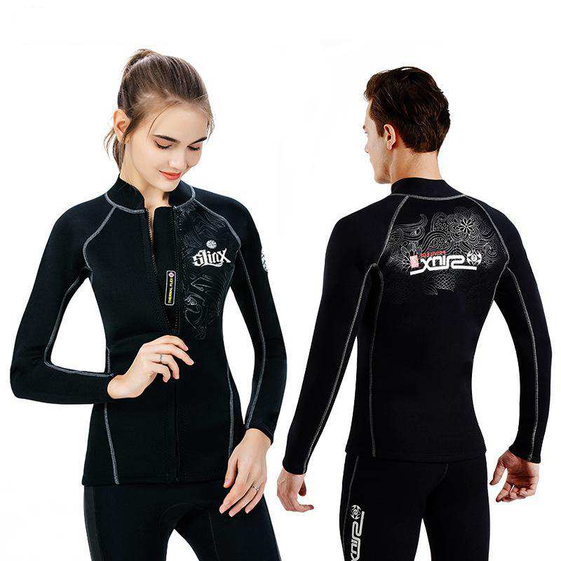 Wetsuit Shirt Snorkeling Diving-Suit Scuba Surf Long-Sleeve Swimming Front-Zipper Neoprene