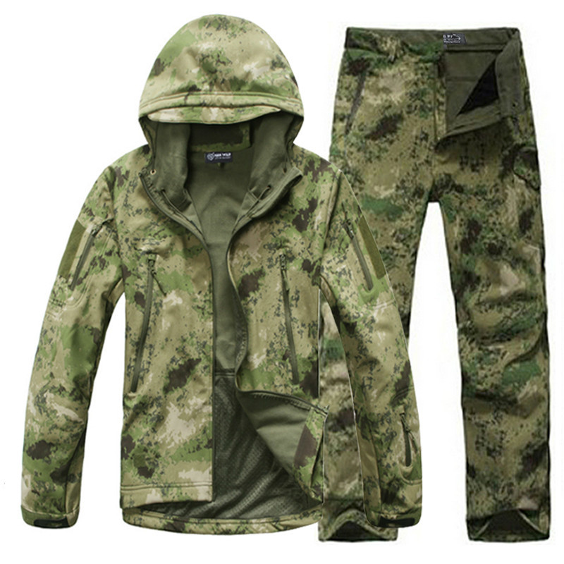 Man Fishing Waterproof Hunting Tactical SoftShell Outdoor Jacket SharkSkin Military Camouflage Jackets Set Sport Army S6