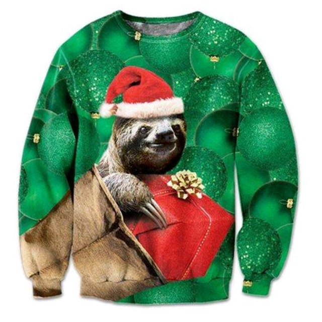 new Fashion Sweatshirt 3D Print Christmas style Long Sleeve Outerwear Cute Kitten/Sloth/Grumpy Cat With Christmas pullover