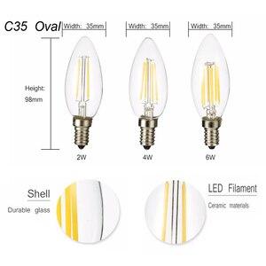 Image 4 - E12 E14 E27 LED bougie ampoule C35 lumière 2 W/4 W/6 W 110 V/220 V blanc chaud/froid rétro lampe à incandescence pour lustre éclairage 360 degrés