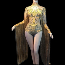 Sparkly Rhinestones Fringes Stage Dance Costume Women Nightclub Performance Show Outfit Tassel Bodysuit Rave Festival Clothing