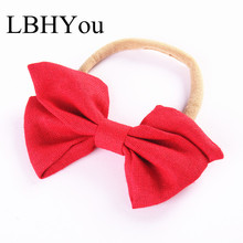 Fashion Hand Tie Linen Nylon Headbands,One Size Fit Most Girls Cotton Bows Nylon Hairbands Soft Head Wraps Baby Hair Accessories fashion linen hand tie nylon headbands super soft girls nylon head wraps newborn baby cotton bows headwraps girls hair accessory