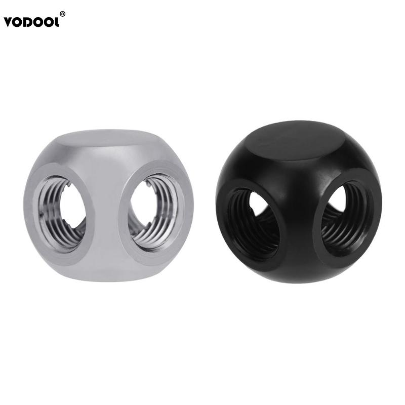 VODOOL Brass G1/4 Inner Thread 4 Way Water Tube Connector Splitter Tee Fittings Ball Shaped Adapter For PC Water Cooling