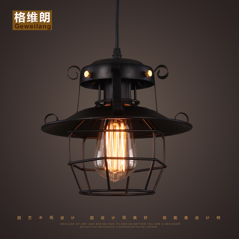 American Loft Cage Ceiling Light Cafe Bar Dinning Room Aisle Lamp Countryside fumat vintage loft led ceiling light with long rod black iron ceiling lamp industiral bar aisle dinning room lighting