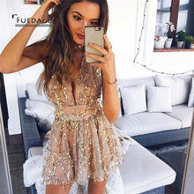 7f58ea6f4ad Fuedage Sexy Sequined Tassel Playsuits 2017 Cropped V Neck Short Jumpsuits  Rompers Club Beach Nightclubs Party Overalls Femme