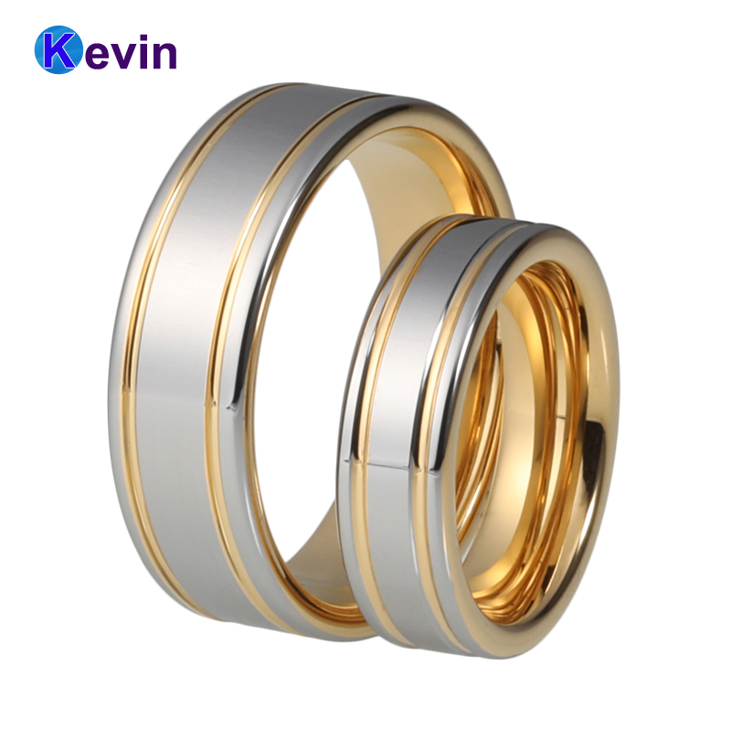 Love forever two tone gold tungsten ring tungsten wedding ring for men and women gold and silver forever love steel couple ring for men 8 size