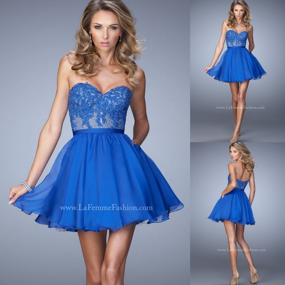 Electric Blue Chiffon Cocktail Dress With Dazzling Rhinestones And ...