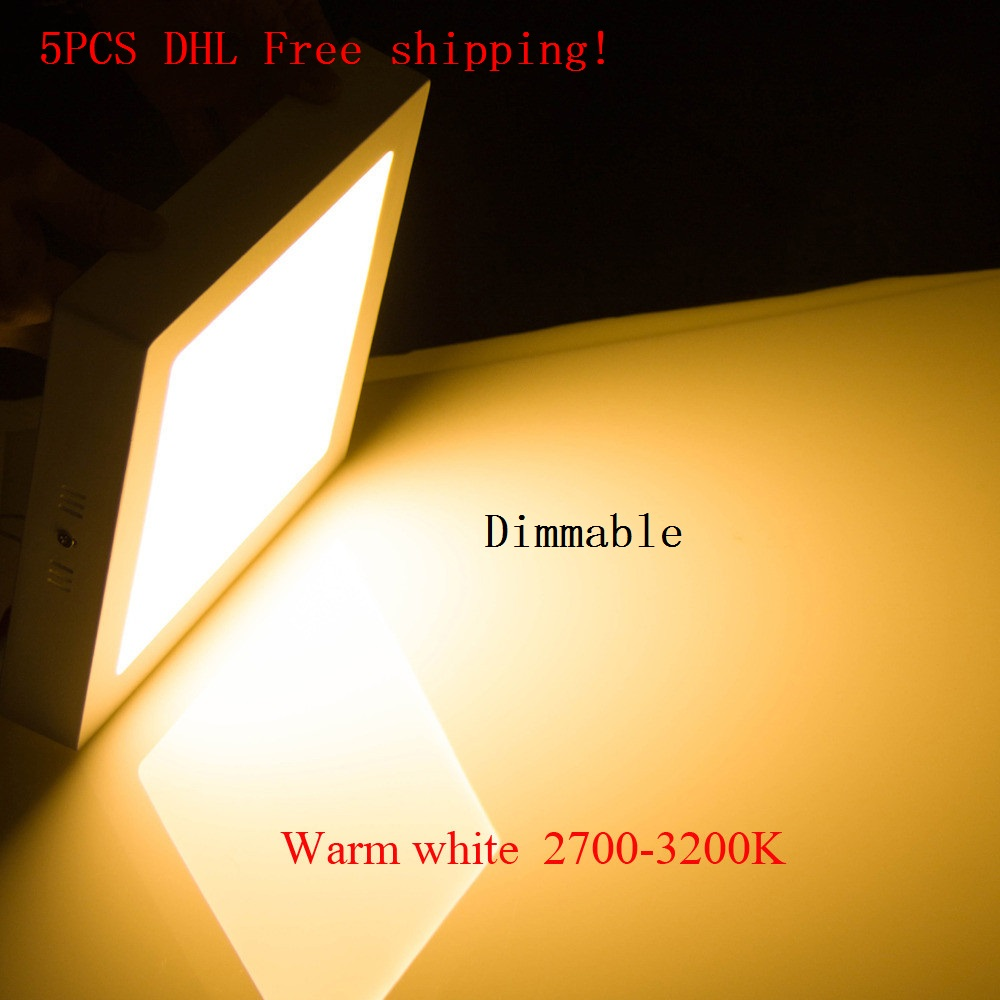 DHL Free shipping 18W Square Surface Mounted Dimmable LED panel light LED Down light LED Ceiling Light AC 85 265V