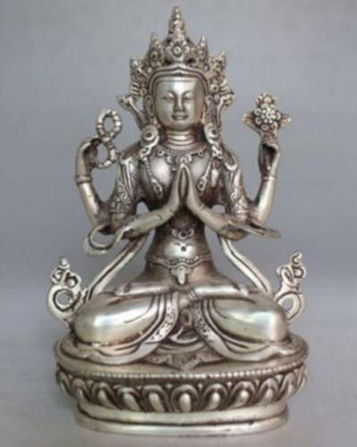 منافذ مصنع الديكور البرونزي التبت الفضة الصين جمع التبت الفضة نحت أربعة الذراع بوذا تمثال