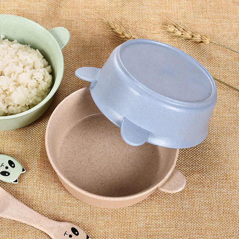 2 ชิ้น/เซ็ตเด็กชุดอาหารการ์ตูน Panda ชามช้อนข้าวสาลีเด็กจานเด็ก Anti - hot การฝึกอบรมอาหารเย็น T2161