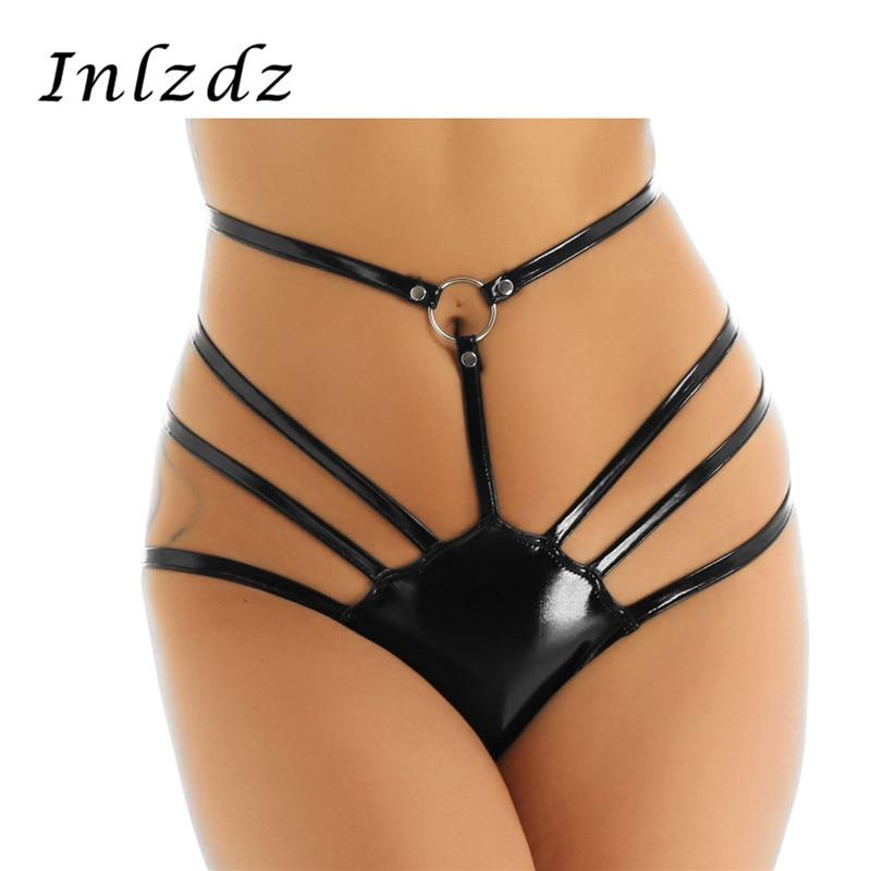 Hot Women Metallic G-string Panties Lingerie Wet Look Micro Mini Thong Underwear