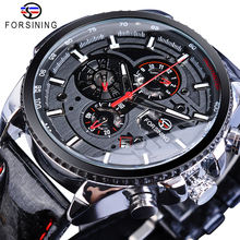 Forsining Watch Men Sport Mechanical Wristwatch Automatic Self-Wind Clock Date 3 Dials Shiny Leather Business Waterproof Relogio цена и фото