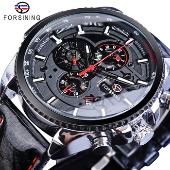 Forsining Watch Men Sport Mechanical Wristwatch Automatic Self-Wind Clock Date 3 Dials Shiny Leather Business Waterproof Relogio