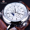 Forsining Moonphase Calendar Display Brown Leather ShangHai High Grade Automatic Movement Mens Watches Top Brand Luxury