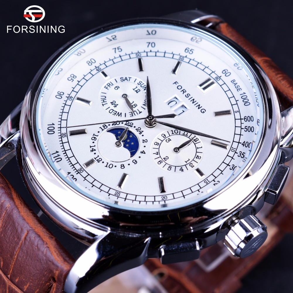 Forsining Moonphase Calendar Display Brown Leather ShangHai High Grade Automatic Movement Mens Watches Top Brand Luxury Watches forsining 3d skeleton twisting design golden movement inside transparent case mens watches top brand luxury automatic watches