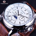 Forsining Moonphase Calendar Display Brown Leather ShangHai High Grade Automatic Movement Mens Watches Top Brand Luxury Watches