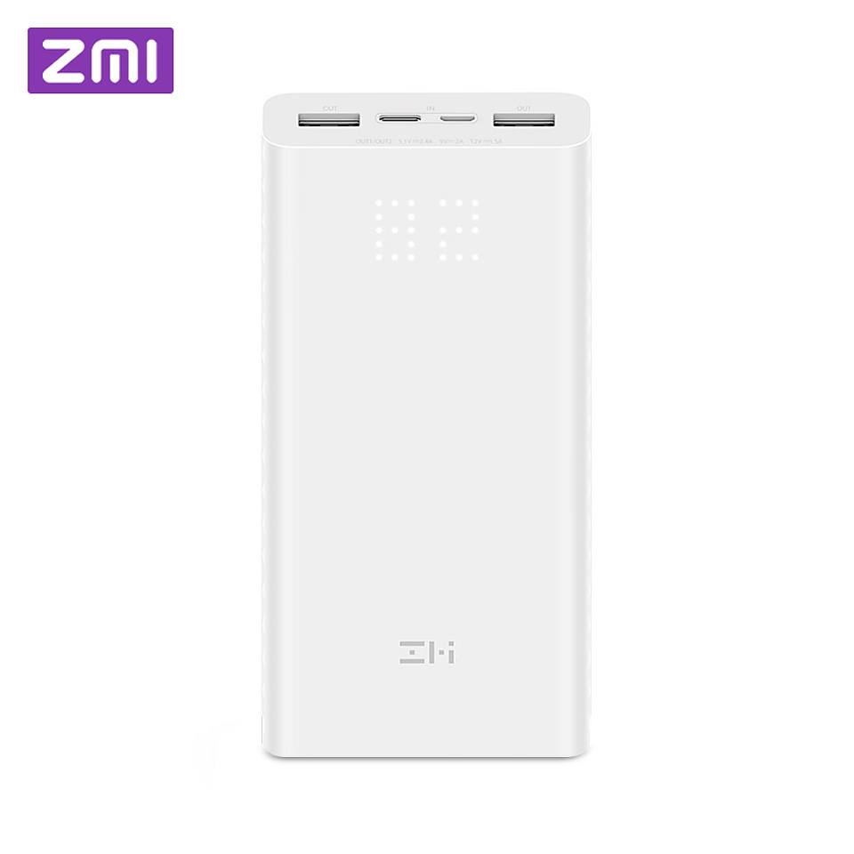 Xiami ZMI Power Bank 20000mAh Power Digital Display 18w QC3.0 Fast Charging Dual USB 20000 mAh Power bank for Smartphone