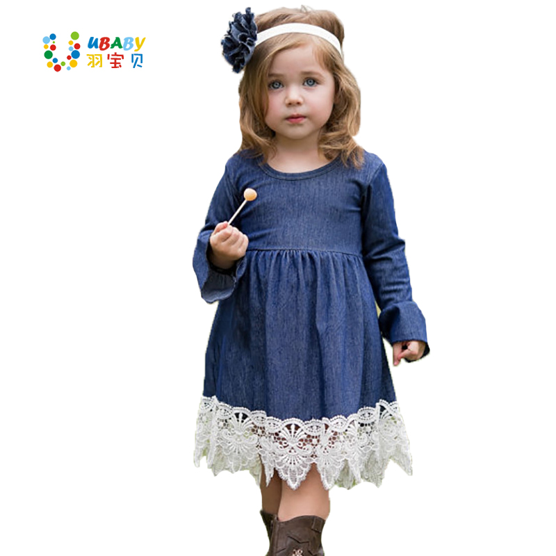 Autumn Child Denim Lace Dress Baby Girls Princess Children Clothing Evening Party Costume Kids Long Sleeve Casual Dresses 2016 new autumn girls costume european&american style kids dress for girls fashion lace floral child long sleeve dress