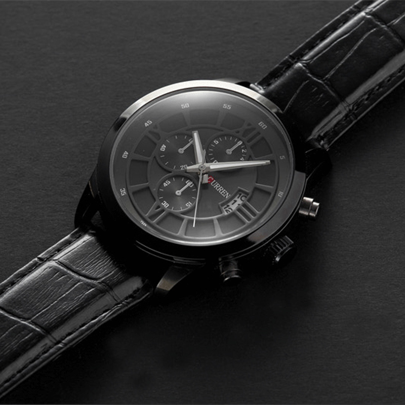 a1f5b9826905 Fashion Curren Brand Business Black Man Wrist watch Date Genuine Leather  waterproof Casual wristwatch Male Relojes hombre-in Quartz Watches from  Watches on ...