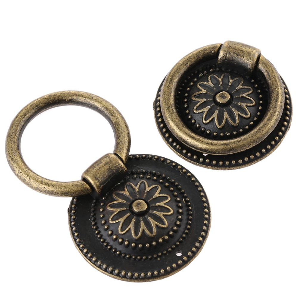 10pcs Closet Door Wardrobe Pull Ring Handle Knob Dia 37mm Antique Bronze  Kitchen Cabinet Cupboard Drawer Pull Ring